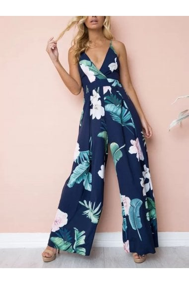 Tie Back Detail Jumpsuit In Navy With Green Palm Print