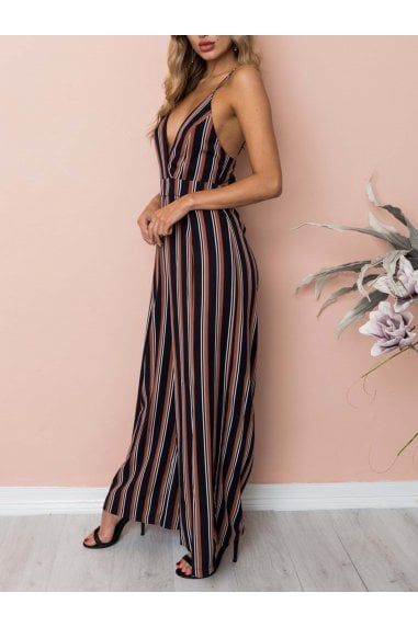 Tie Back Detail Jumpsuit In Black Bordeaux Stripe