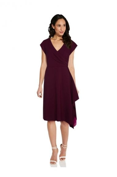 Colorblocked Crepe Dress In Wine/Tropical Fuchsia