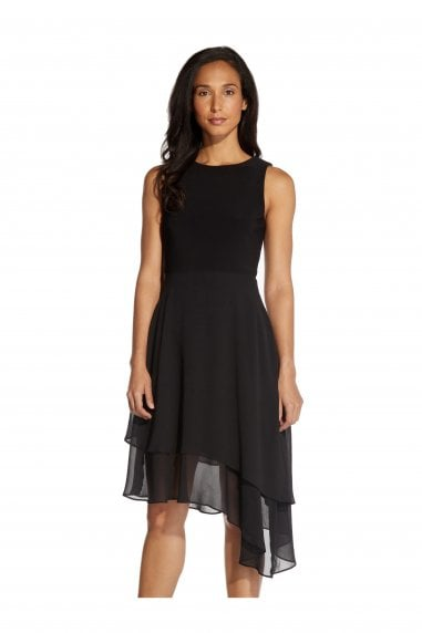 Jersey & Chiffon Fit And Flare Dress In Black