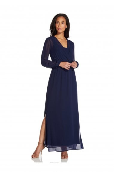 Chiffon And Jersey Maxi Dress In Navy