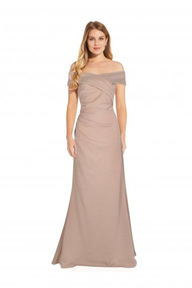 Metallic Knit Gown In Champagne