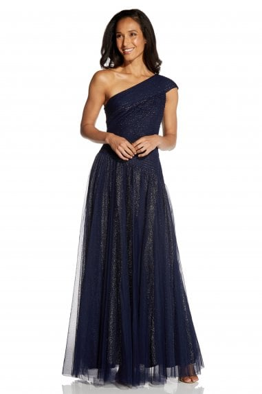Shirred Tulle Gown In Midnight