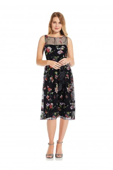 Floral Embroidered Dress In Black Multi