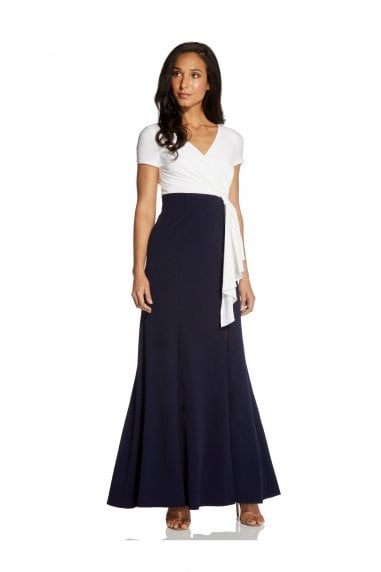 Color Blocked Crepe Gown In Ivory/Midnight