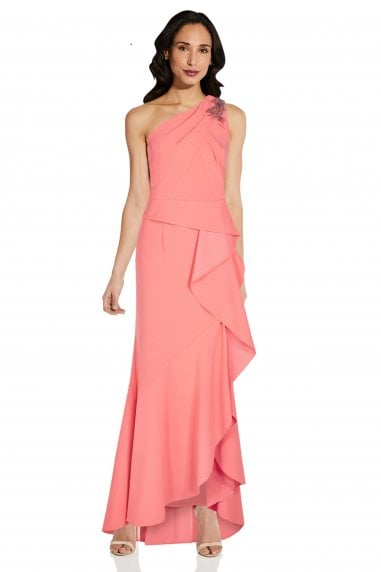 One Shoulder Crepe Gown In Coral Punch