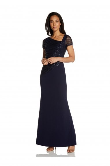 Sequin Crepe Dress In Midnight