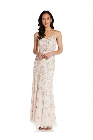 Beaded Blouson Gown In Flaxen