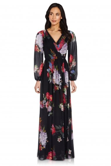 Floral Chiffon Gown In Black Multi