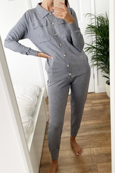 Grey Oversized Shirt Lounge Co-ord