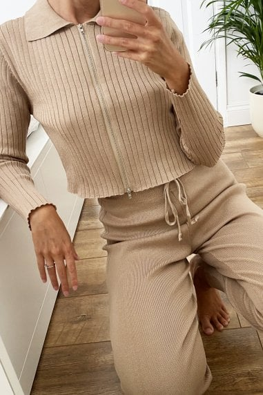 Taupe Ribbed Lounge Co-ord With Zip Collar Top