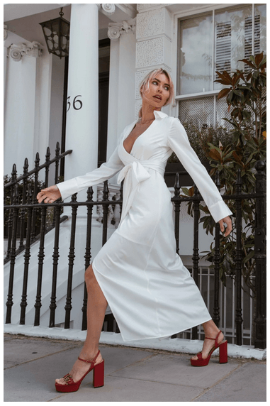 White Satin Wrap Shirt Dress
