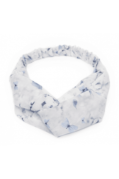 Floral Blue Twist Front Headband