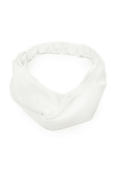 White Satin Twist Front Headband