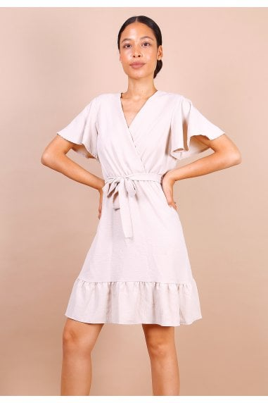 Wrap Front Angel Sleeve Mini Dress In Beige