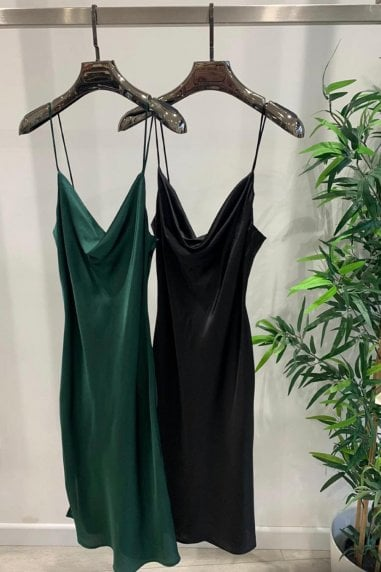 Forest Green Midi Satin Strappy Dress