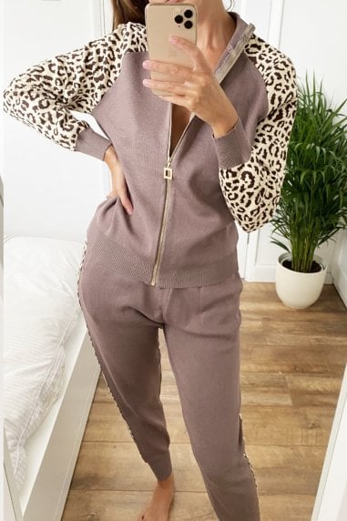 Leopard-Print Insert Zip Lounge Co-ord Set