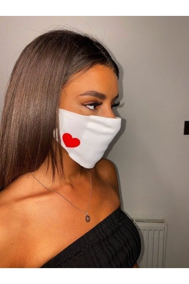 Comfy Fit Face Mask For Adults In White With Red Heart -Pack of 10