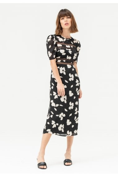 Midi Dress with Lace Inserts in Black White Floral Polka
