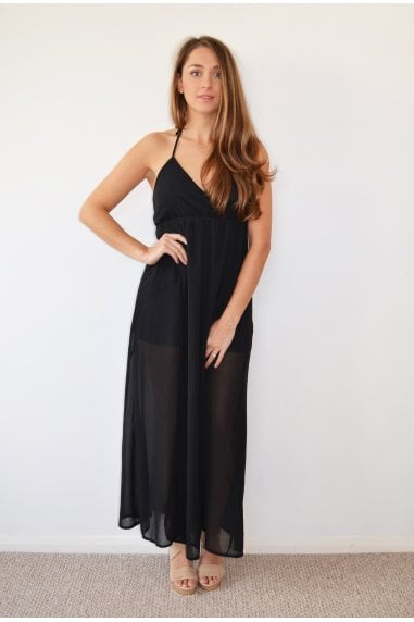 Black Halterneck Maxi Dress with Tye Back