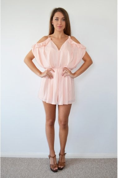 Pink Frill Cold Shoulder Playsuit with Tye Back