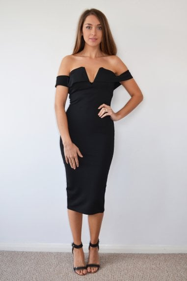 Black Bardot Sweatheart Neck Midi Dress