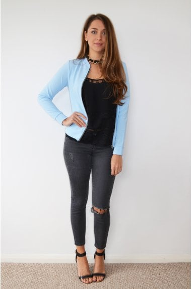 Blue Cropped Light Bomber Jacket