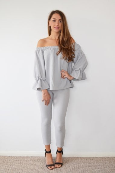 Grey Bardot Frill Sleeve Loungwear Co-Ord