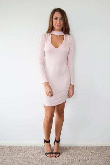 Pink Choker Neck Long Sleeve Midi Dress