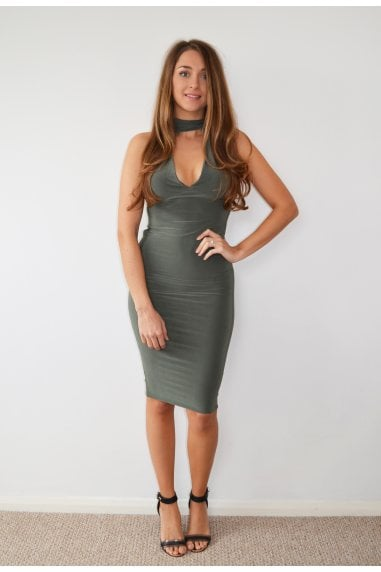 Khaki Choker Neck Midi Dress