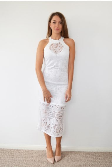 White Aztec White Midi Dress With High Neck