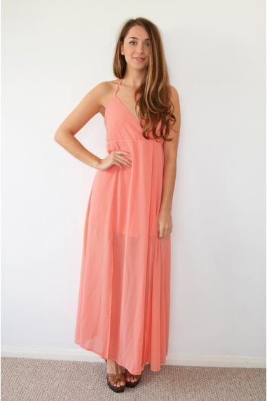 Pink Halterneck Maxi Dress with Tye Back