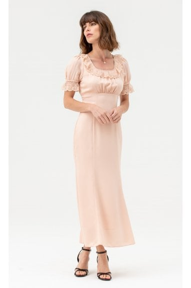 Satin Lace Midi Dress Short Sleeves in Nude