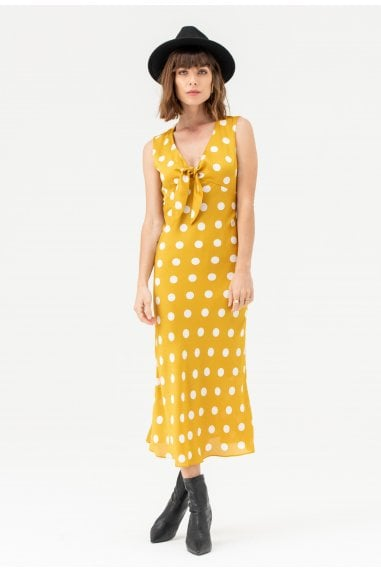 Tie Front Midi Dress in Yellow Polka Dot