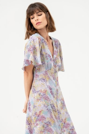 Button Front Midi Dress in Lilac Multi