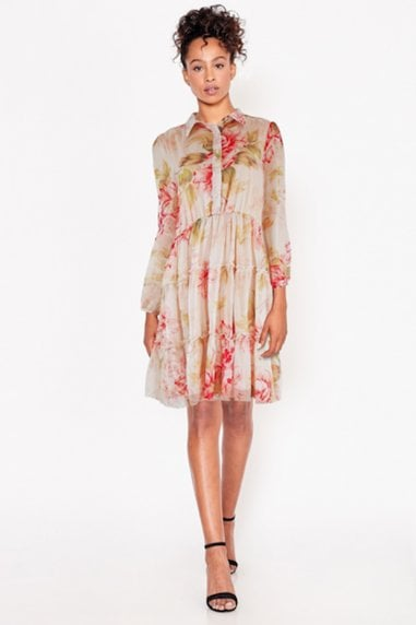 Floral Smock Tired Shirt Dress