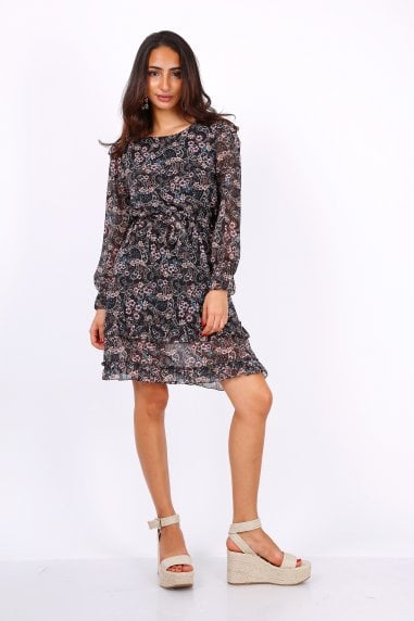 Black Long Sleeve Mini Dress In Chiffon Paisley Print