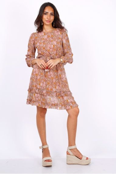 Camel Long Sleeve Mini Dress In Chiffon Paisley Print