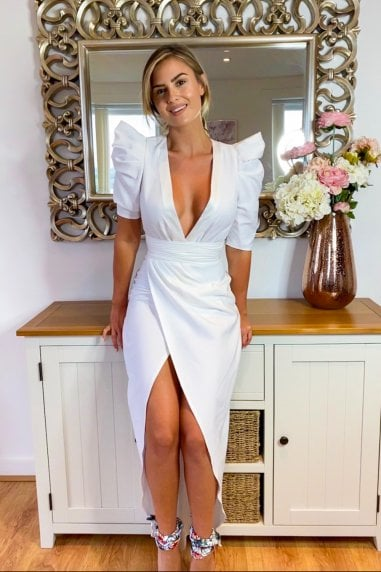 Zandra White Plunge Mock Wrap Midi Dress