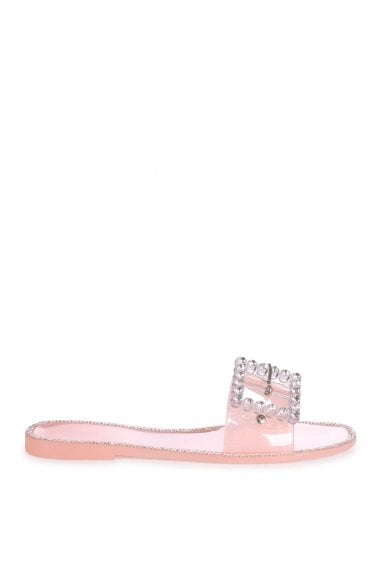 OBSESSED - Nude Slip On Slider With Large Buckle Detail and Diamante Trim