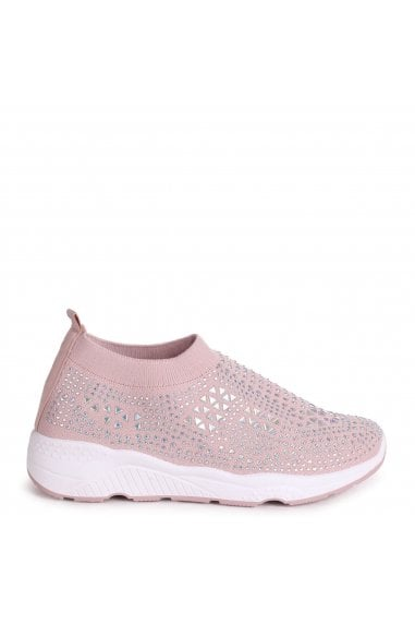 AMBITIOUS - Pink Sock Trainer With All Over Diamante Detail and White Rubber Sole