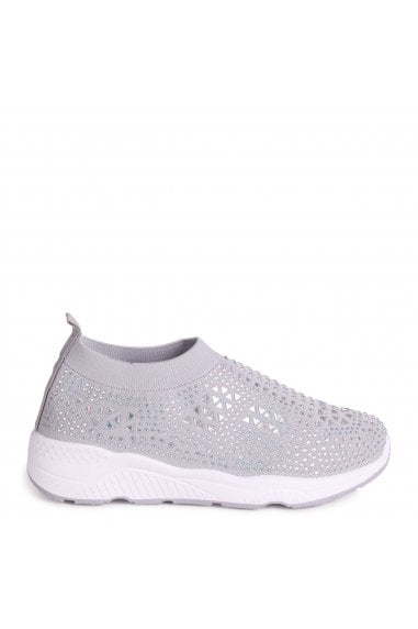 AMBITIOUS - Grey Sock Trainer With All Over Diamante Detail and White Rubber Sole