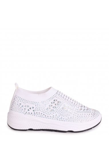 AMBITIOUS - White Sock Trainer With All Over Diamante Detail and White Rubber Sole