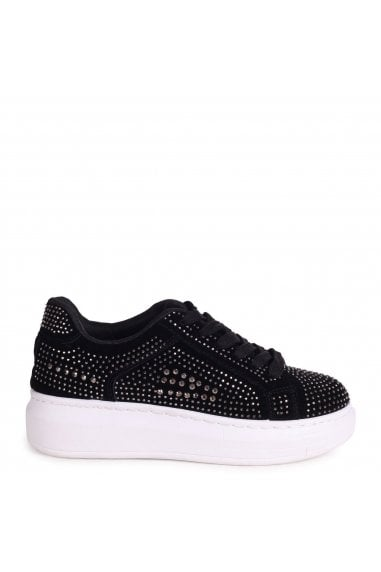 MELLOW - Black Platform Trainer With All Over Diamante Detail