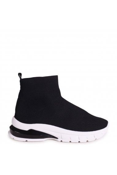 PRECIOUS - Black Sock Ankle Length Trainer With Chunky White and Black Rubber Sole