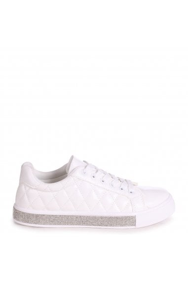 LOVER - White Nappa Quilted Trainer With Diamante Trim