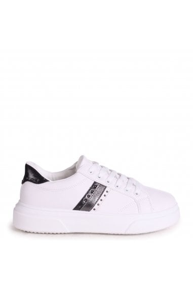 FIRE - White Platform Trainer With Black Metallic Stripe and Studded Detail