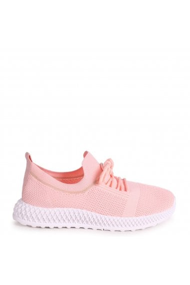 DISTRACTION - Pink Flyknit Trainer With Lace Up Detail and Chunky Geometric Rubber Sole