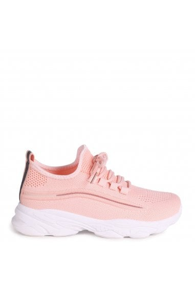 SO FINE - Pink Flyknit Trainer With Lace Up Detail and Chunky White Rubber Sole