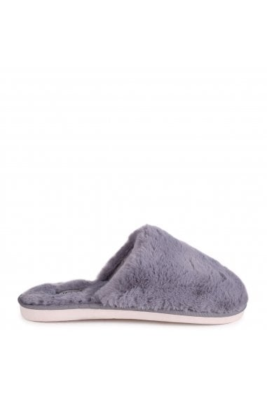ZERO - Grey Fluffy Closed Toe Slippers
